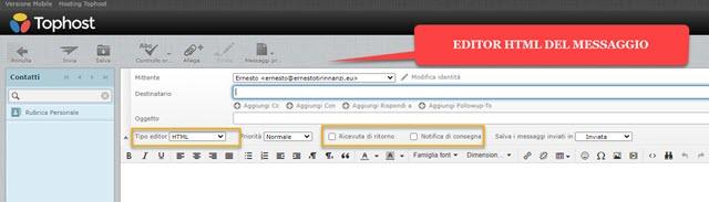 editor html dei messaggi del client di tophost