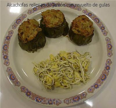 alcachofas rellenas de jamón