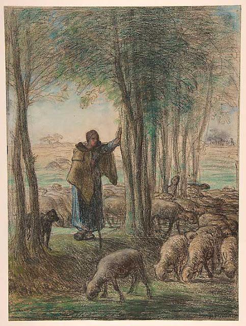 Жан Франсуа Милле - Пастушка и ее стадо в тени деревьев. 1855