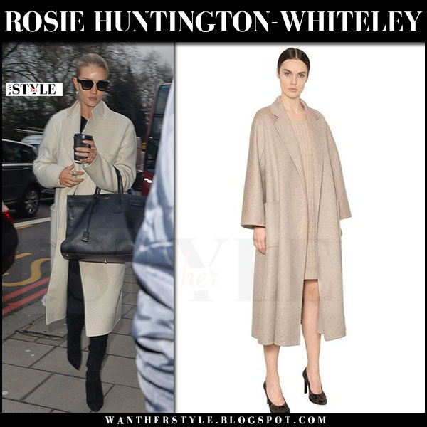 Rosie Huntington-Whiteley in beige wool coat max mara, black suede boots saint laurent with black leather tote sac de jour what she wore winter style
