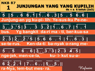 Lirik dan Not NKB 87 Junjungan Yang Ku Pilih