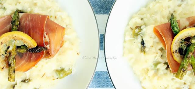 Risotto grillezett spárgával és pármai sonkával