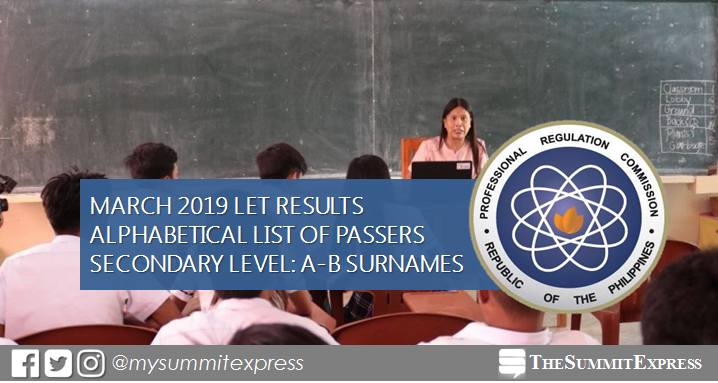 A-B Passers Secondary: LET Result March 2019