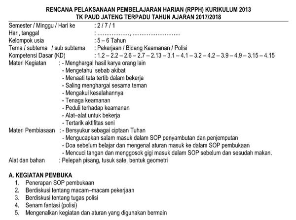 RPPH TK-B Kurikulum 2013 Semester 2 Pekerjaan Bidang Keamanan, Pemerintahan