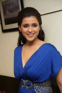 Mannara Chopra in Short Blue Dress at Rogue Movie Teaser Launch 1st March 2017 074.JPG