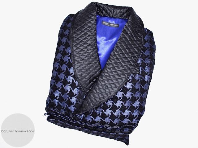 mens dark blue quilted silk dressing gown victorian housecoat vintage smoking jacket