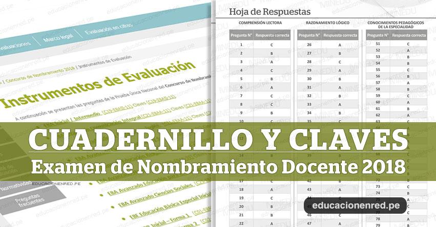 MINEDU: Cuadernillo y Claves del Examen de Nombramiento Docente (Prueba Única Nacional) www.minedu.gob.pe