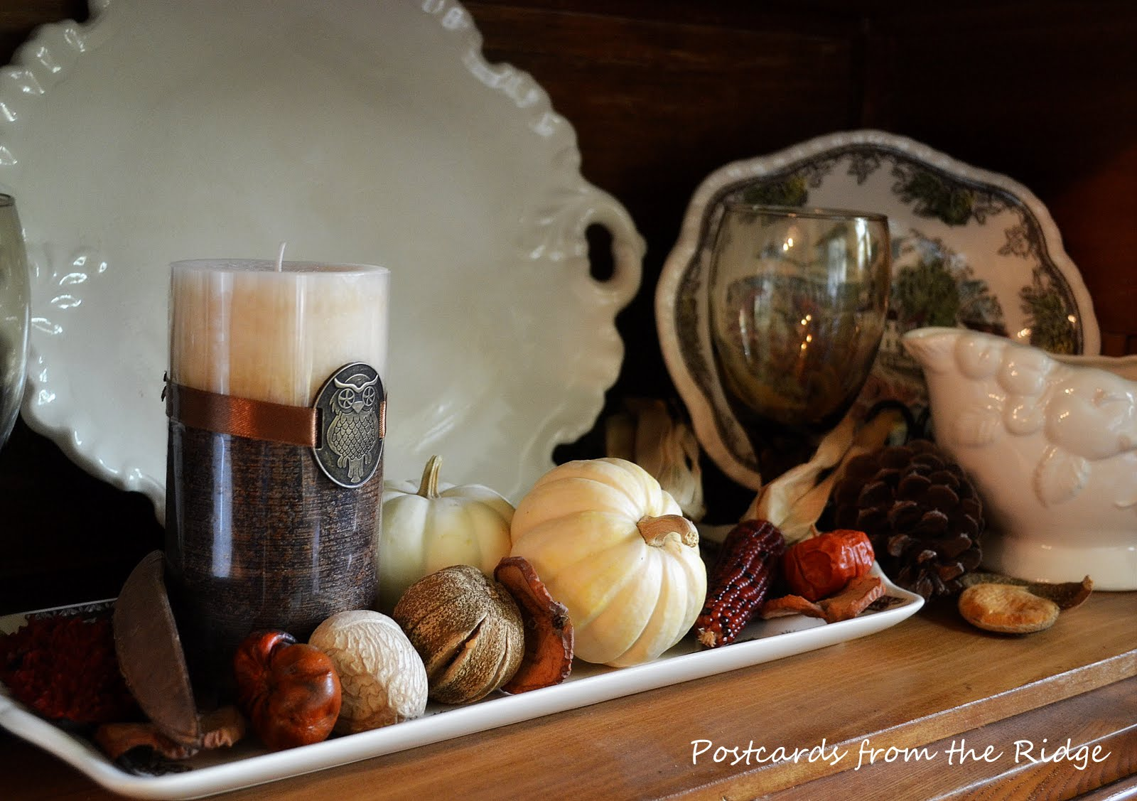 Love the dried pods! Lots of great ideas for using natural, vintage, and farmhouse style decor for fall.