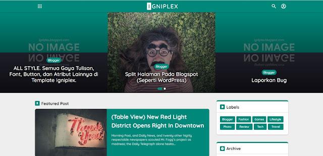 tampilan template igniplex