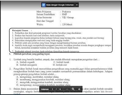 Soal dan Kunci Jawaban PAT Prakarya Kelas 7 Kurikulum 2013