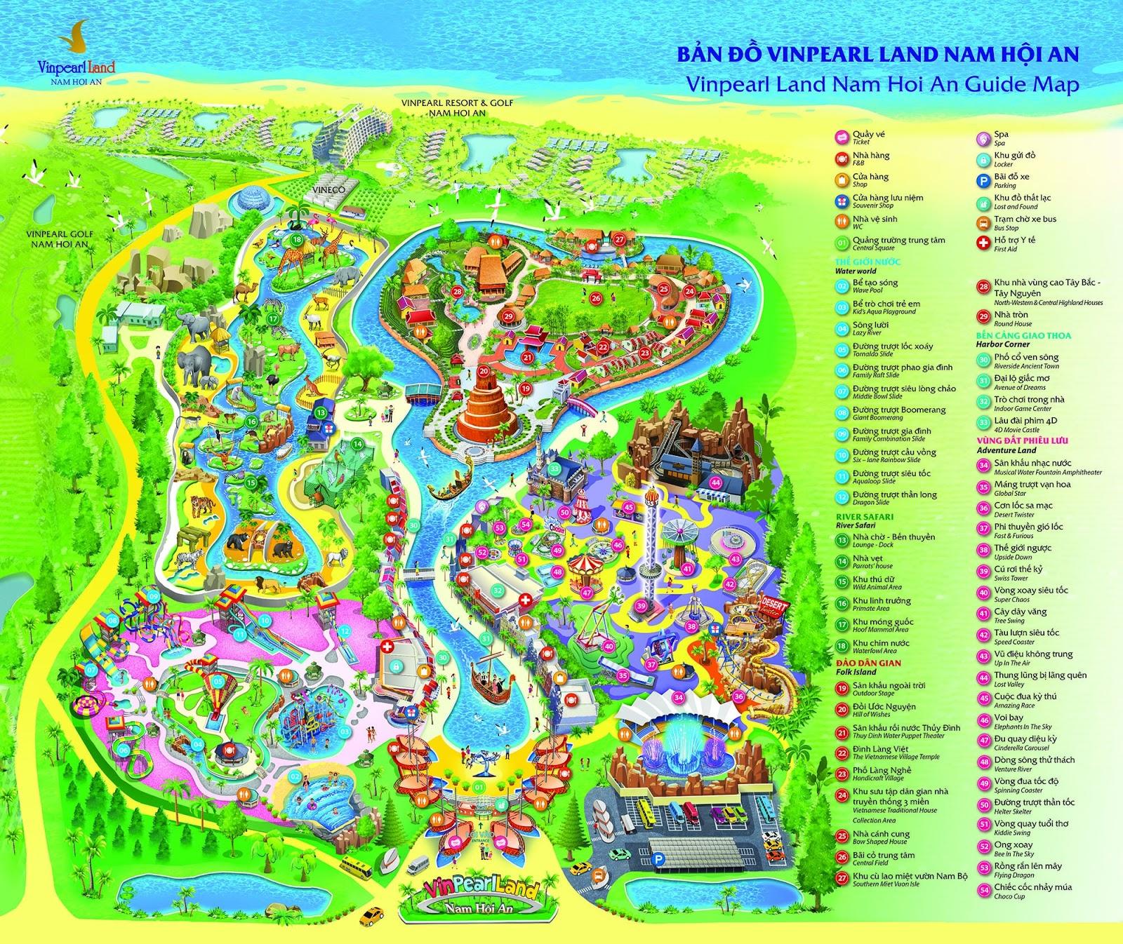 Bản đồ tham quan Vinpearl Nam Hội An