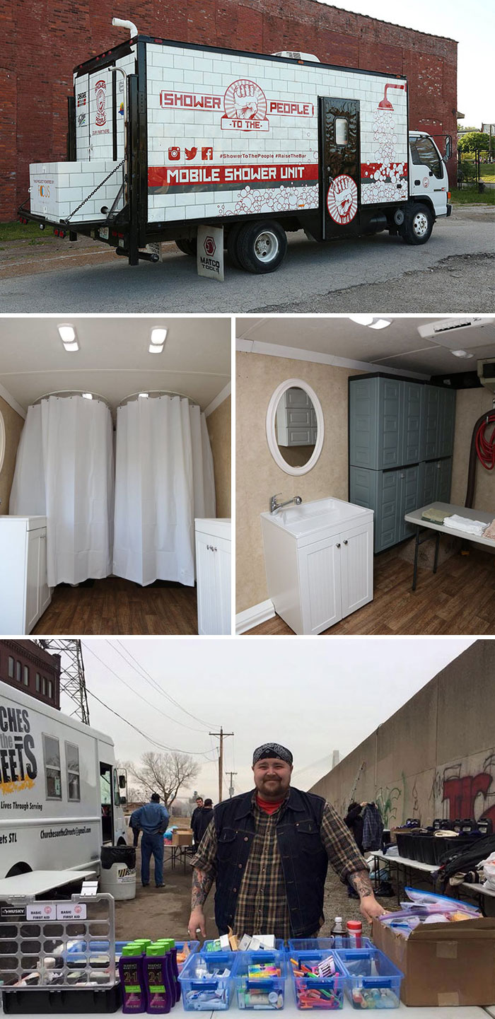 40 Times 2016 Restored Our Faith In Humanity - Man Turns Old Truck Into Mobile Shower For Homeless People To Wash Up And Restore Their Dignity