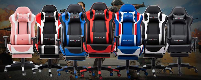 Nokaxus Gaming Chair Large Size High-Back Ergonomic Racing Seat with Massager