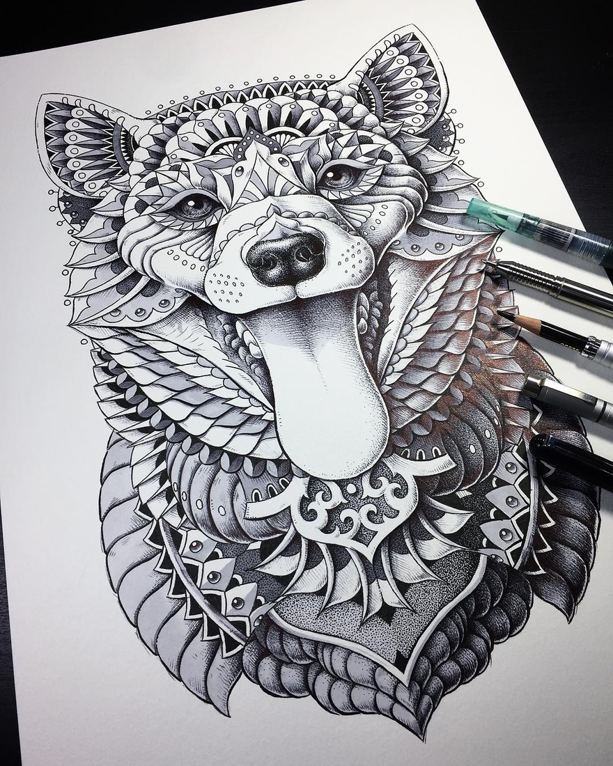 02-Shiba-Inu-Ben-Kwok-bioworkz-Animals-Drawings-Detailed-with-Elaborate-Geometric-Shapes-www-designstack-co