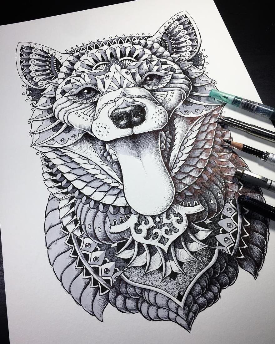 02-Shiba-Inu-Ben-Kwok-bioworkz-Animals-Drawings-Detailed-with-Elaborate-Geometric-Shapes-www-designstack-co