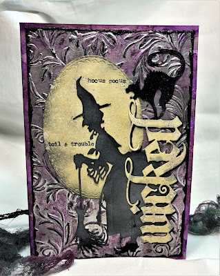 Sara Emily Barker http://sarascloset1.blogspot.com/ Halloween 3D embossing tutorial card Tim Holtz Sizzix Alterations Ranger Distress 8