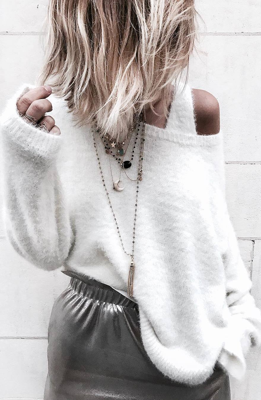 outfit idea: knit + silver skirt
