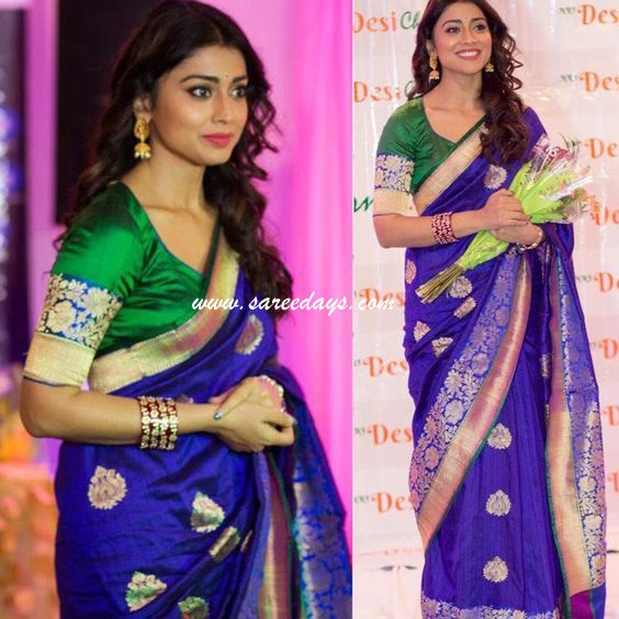 Latest saree designs checkout shriya saran in blue silk saree with zari work and paired with matching half sleeves blouse altavistaventures Image collections