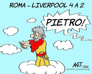 roma - liverpool, champions league, calcio, sport, umorismo, miracoli, san pietro, vignetta