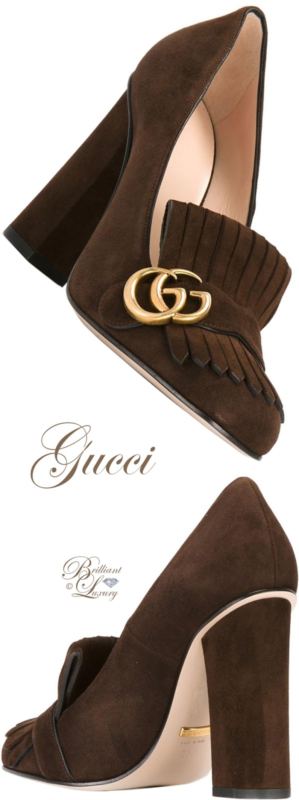 Brilliant Luxury ♦  Gucci Fringed Logo Plaque Pumps