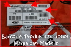 Barcode, Product Intruction, harga dan Made in