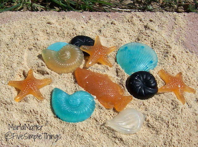 fish, seashell, starfish homemade soap