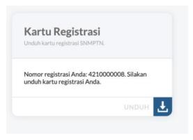 halaman cetak kartu registrasi pada pendaftaran SNMPTN
