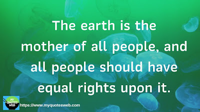 Amazing Quote of The Day- The earth is the mother