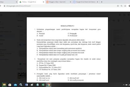 Contoh Soal Latihan Ujian PPG atau SKB Guru PJOK