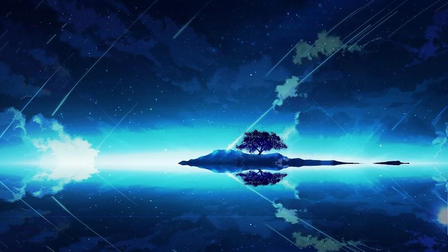 Anime Scenery Night Sky Clouds Horizon 4k Wallpaper 127