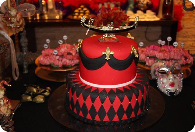 Decoração Baile de Máscaras Veneziano - Aniversário Bolo
