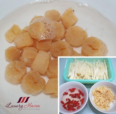 conpoy dried scallops enoki mushrooms goji recipe