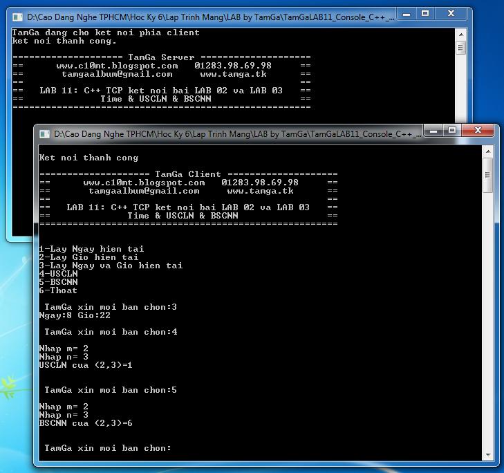 lập trình mạng TCP Console C++