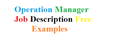 Operation Manager Job Description Free Examples