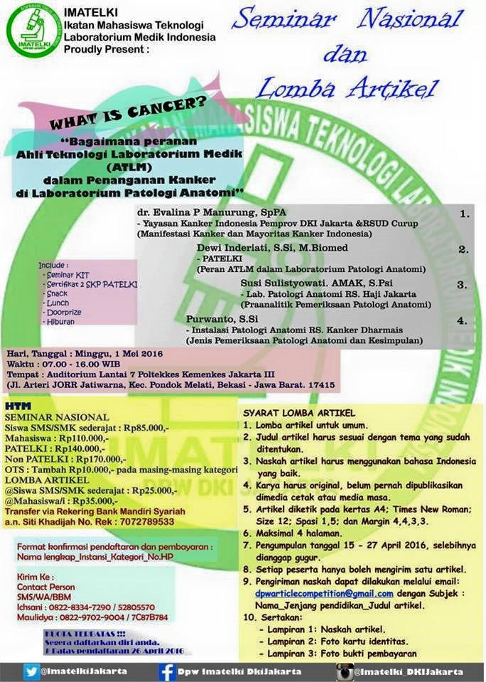 Seminar Nasional IMATELKI JAKARTA 2016   Peran ATLM dalam Penaganan ...