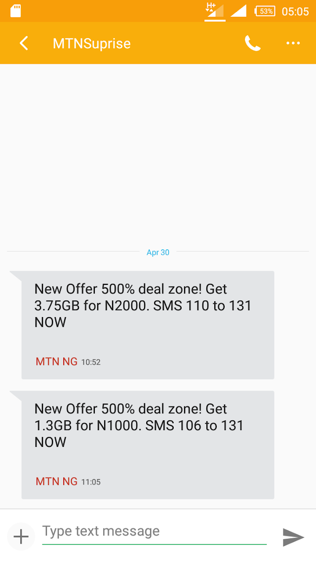 MTN surprise -MTN Unleashes Cheap Data Plans 3.7GB and 1.3GB