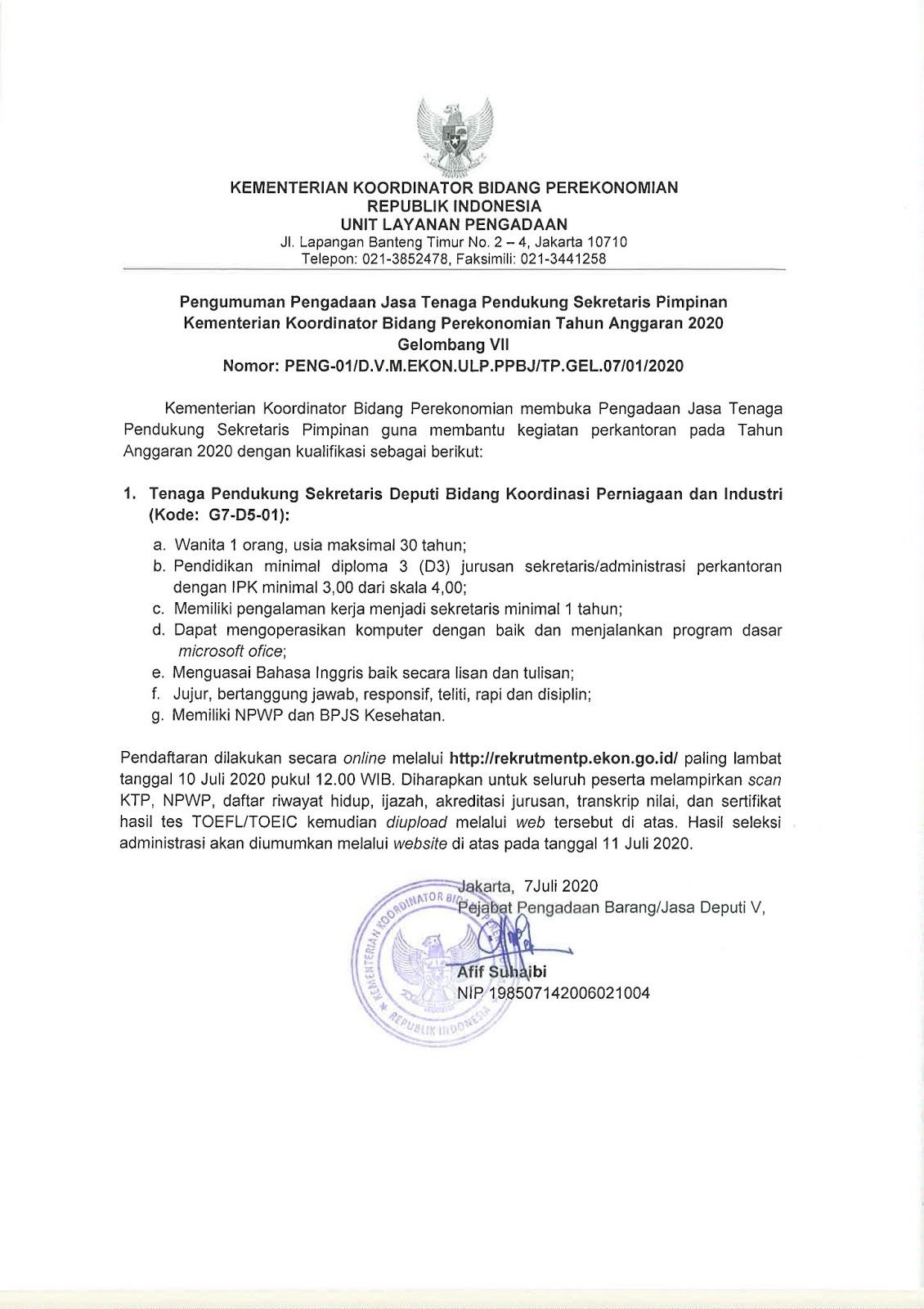 Rekrutmen Tenaga Pendukung Kementerian Koordinator Bidang Perekonomian