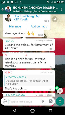 Ken Chonga leaked WhatsApp Messages.- Kilifi south