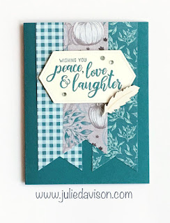 Stampin' Up! Everything Festive Cards for Autumn ~ Come to Gather Designer Paper ~ 2019 Holiday Catalog ~ Card Layout ~ www.juliedavison.com