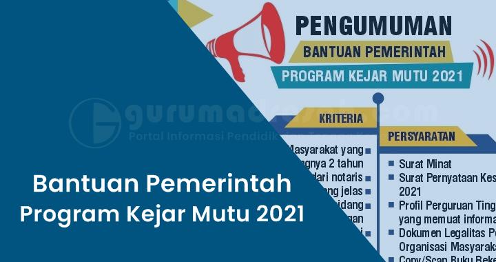 Pengumuman Bantuan Pemerintah Program Kejar Mutu 2021 Direktorat Sekolah Dasar