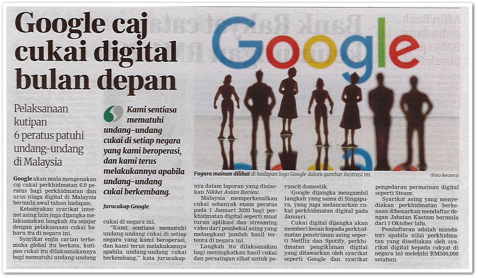 Google caj cukai digital bulan depan - Keratan akhbar Berita Harian 7 Disember 2019