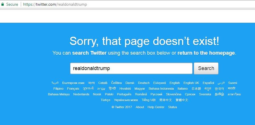 Akun Twitter Trump hilang