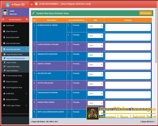 Cara Memunculkan Data Ekstrakurikuler Pada Aplikasi E-Raport SD Resmi Dari Direktorat Sekolah Dasar