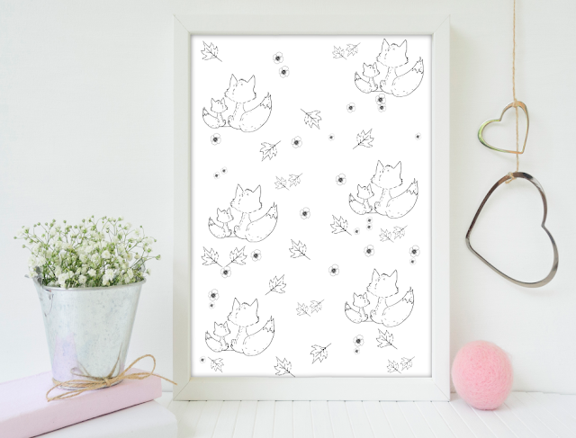 Fox and Flowers Doodle Pattern
