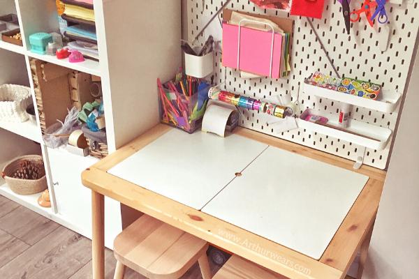 Ikea flisat table skadis pegboard desk in playroom