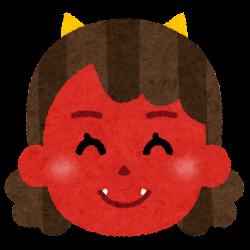 赤鬼のイラスト(女性・笑顔)