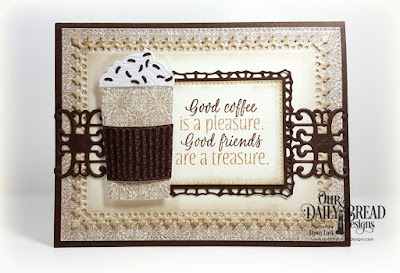 Our Daily Bread Designs Stamp Set: I Love Coffee, Our Daily Bread Designs Paper Collection: Vintage Ephemera, Our Daily Bread Designs Custom Dies: Beverage Cup, Lavish Layers, Pierced Rectangles, Trellis Strip