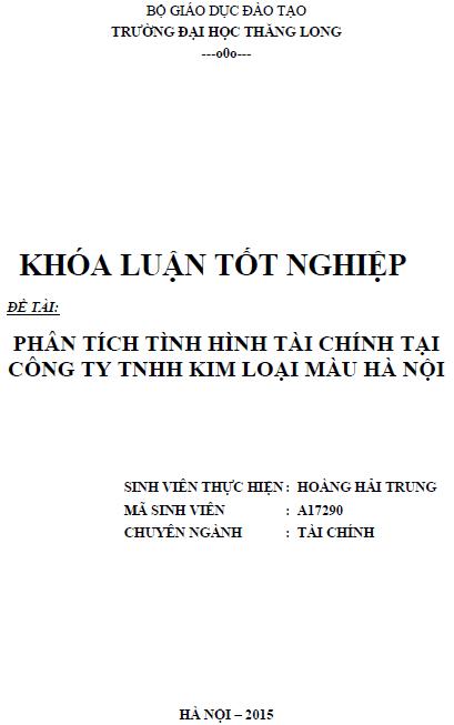Phân tích tình hình tài chính tại Công ty TNHH kim loại màu Hà Nội