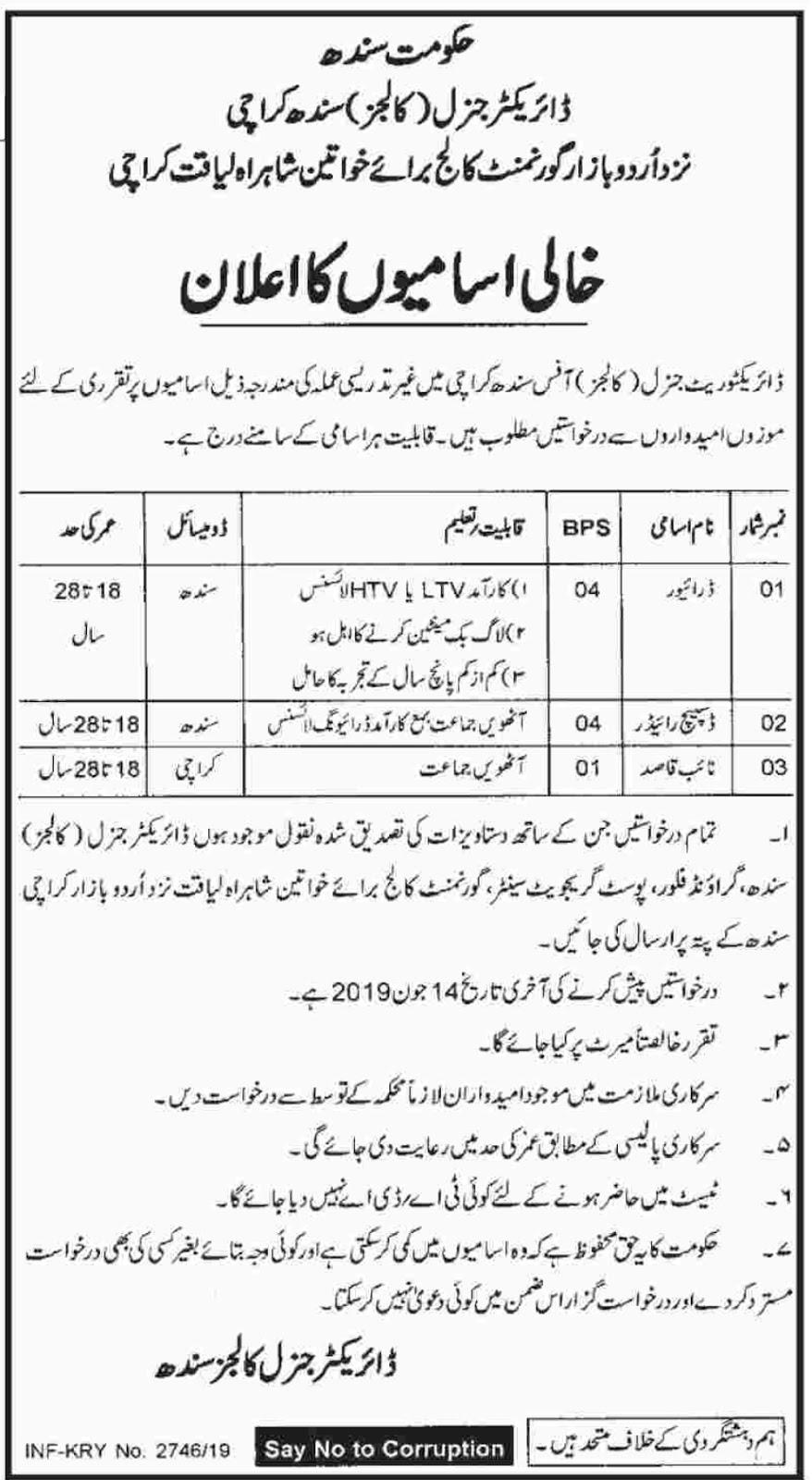 Director General (Colleges) Sindh Karachi Jobs 2019 - Sindh Jobs