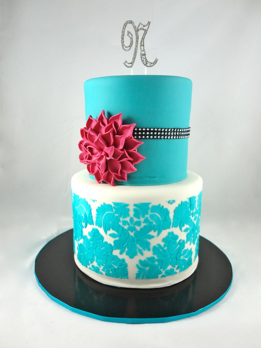 The Sensational Cakes Damask Blue 2 Tiers Wedding Cake